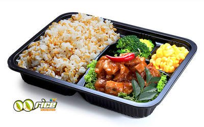 Spiced Chicken and Oat Rice Bento Box with Organic Soya Drink for 1 Person